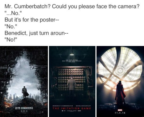 image benedict cumberbatch poster You Don't Get a Reputation for Being a Serious Dramatic Actor by Facing Forward in Posters