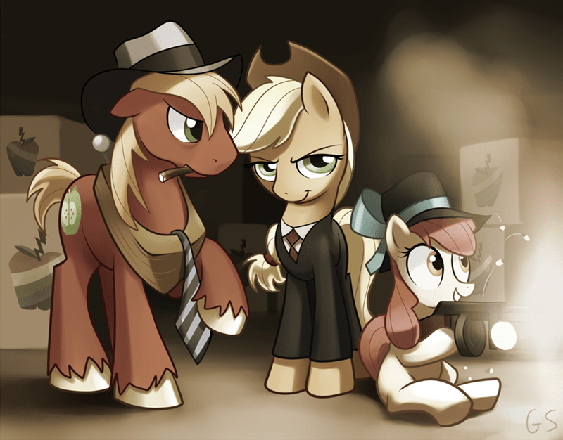 applejack,applebloom,zap apple,Big Macintosh,mobster
