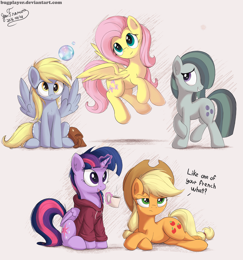 applejack,marble pie,derpy hooves,twilight sparkle,hoodie,fluttershy