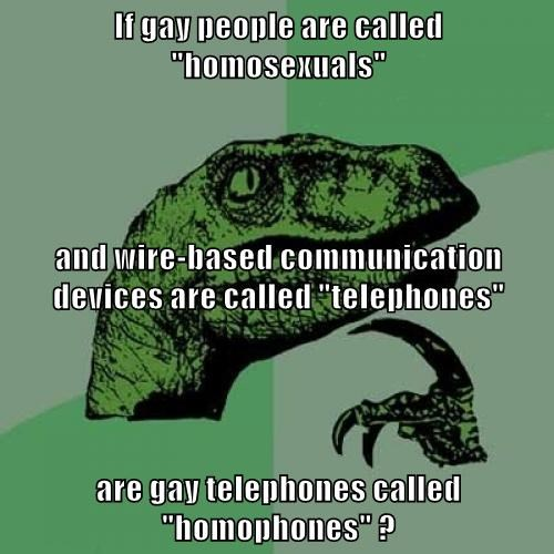 "If gay people are called ""homosexuals"" and wire-based communication devices are called ""telephones"" are gay telephones called ""homophones"" ?"