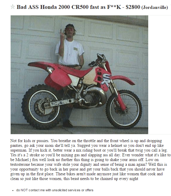 craigslist motorcycle This Motorcycle Sales Pitch Is Very... Descriptive