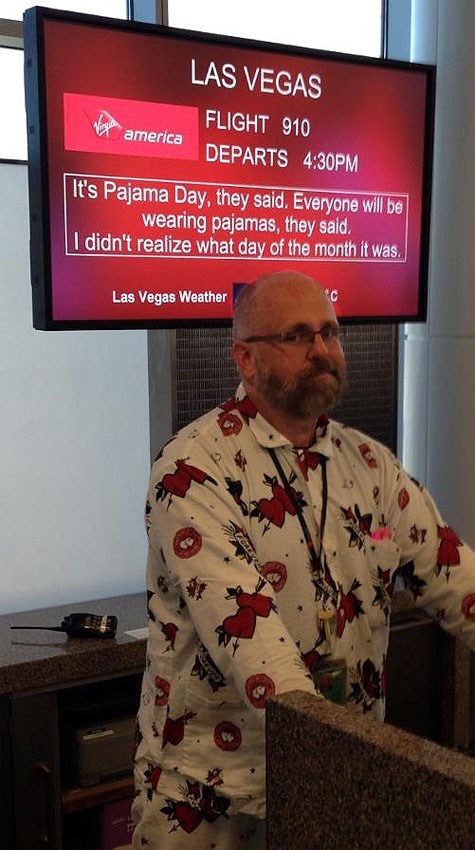 boarding sign - Media - LAS VEGAS FLIGHT 910 america DEPARTS 4:30PM It's Pajama Day, they said. Everyone will be wearing pajamas, they said. I didn't realize what day of the month it was C Las Vegas Weather