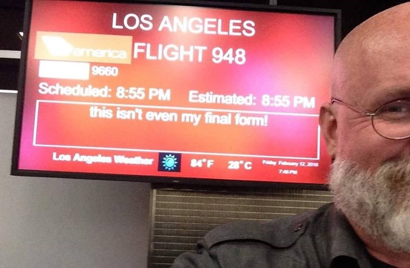 """boarding sign - Display device - LOS ANGELES merica FLIGHT 948 9660 Scheduled: 8:55 PM Estimated: 8:55 PM this isn't even my final form! Los Angeles Weather 84 F 2""""c F 12.20"""
