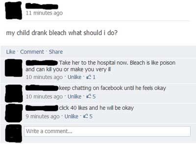 kid drinks bleach mom goes to facebook