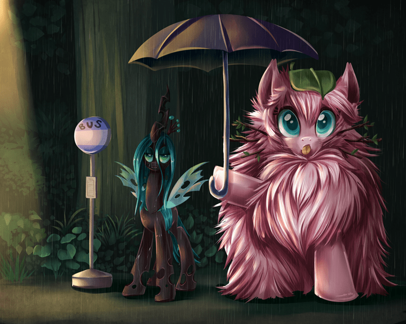 mashup,flufflepuff,chrysalis,my neighbor totoro