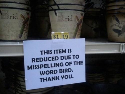 misspelling bird sign This'll Go Great in My Brid Themed Garden!