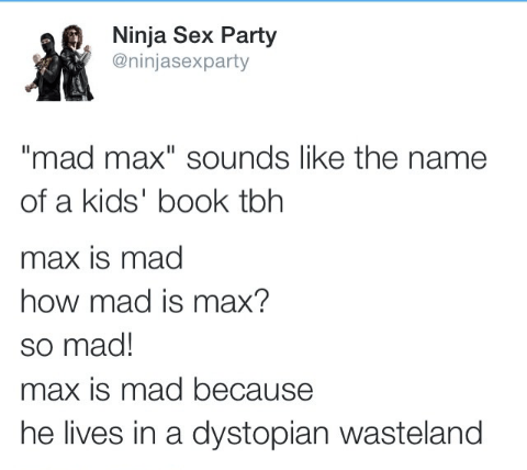 mad max books twitter Sounds Like a Good Read