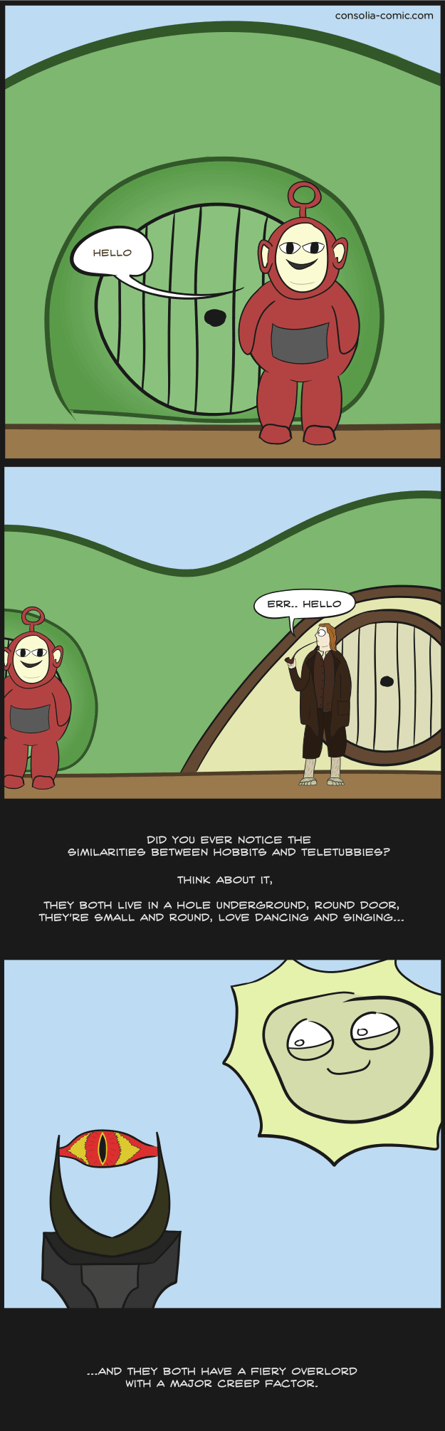 teletubbies dwarves hobbit web comics - 8771289856