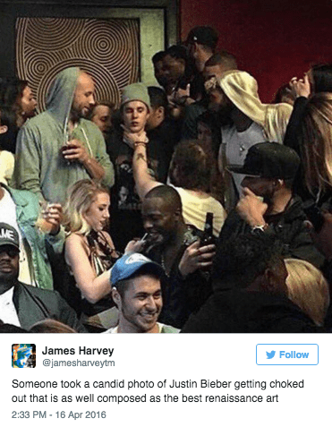 justin beiber renaissance image This Picture of Justin Beiber Getting Choked Looks Like a Work of Renaissance Art