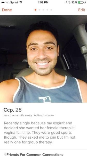 group therapy with ex girlfriend tinder