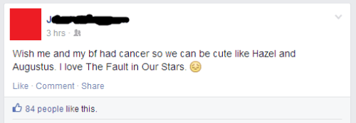girl wishes for cancer to be romantic fault in our stars