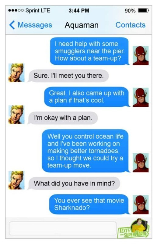 aquaman-flash-superheroes-texting-conversation