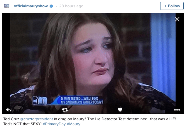 ted cruz maury drag If This Guest on Maury Isn't Secretly Ted Cruz, She Must at Least Be Related to Him