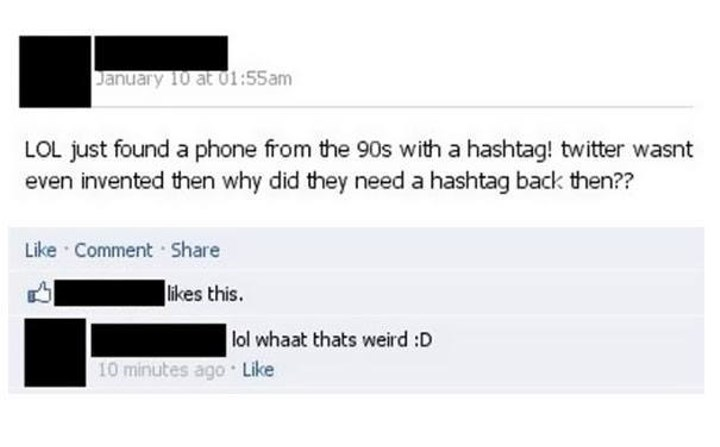 90s phone has hashtag before twitter