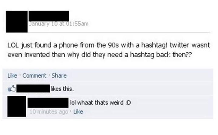 90s phone has hashtag before twitter