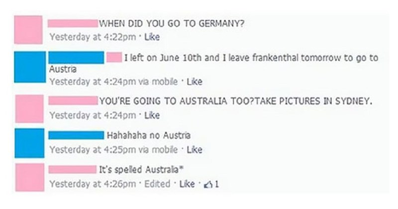 girl mistakes austria for australia on facebook