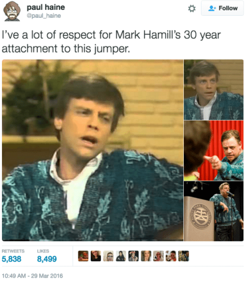 image mark hamill sweater Mark Hamill Knows How to Hang on to a Good Sweater