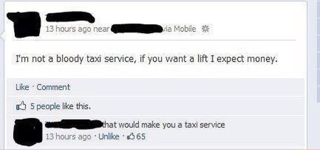 guy realizes he's become a taxi service