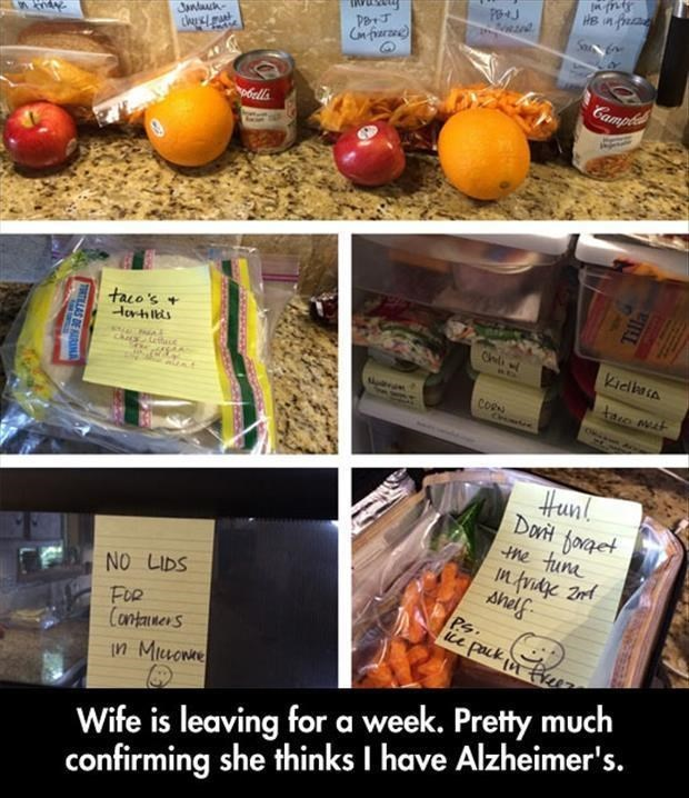 wife leaves husband with labels on how to live life