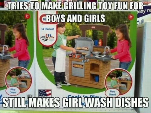 girl does dishes on playskool toy