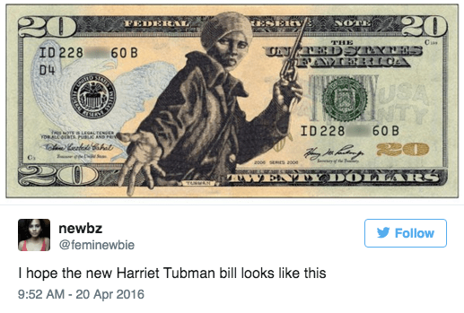 Money - 220 ESER NOTE FEDERAL Cis THE CN/REDSTXTES 60 B ID 228 D4 USA NTY AN रपर 60B ID 228 NOTE LEGAL TENGE ethat 200e SERES 200 WEN YDO LLARS TNEAN Follow newbz @feminewbie I hope the new Harriet Tubman bill looks like this 9:52 AM-20 Apr 2016