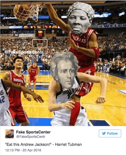 "Sports - WELG ICKETS @FakeSportsCentr ROCKETS Follow Fake SportsCenter @FakeSportsCentr ""Eat this Andrew Jackson!"" - Harriet Tubman 12:13 PM - 20 Apr 2016"