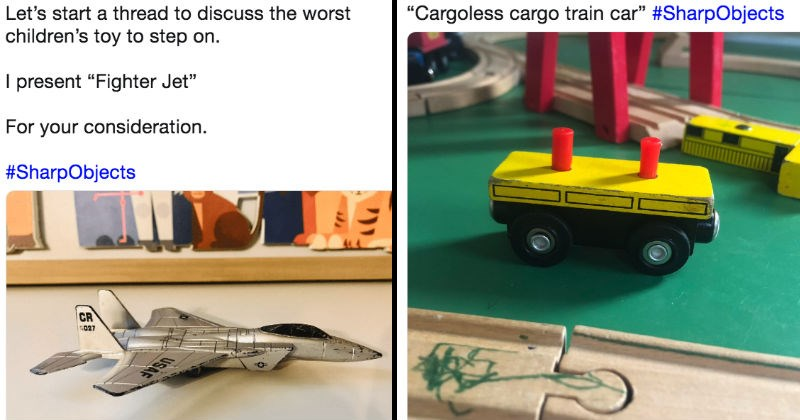 Twitter users are describing the most painful toys they ever stepped on.