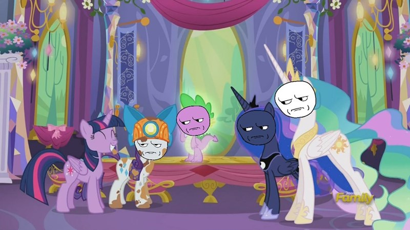 spike,gauntlet of fire,twilight sparkle,princess luna,rarity,princess celestia