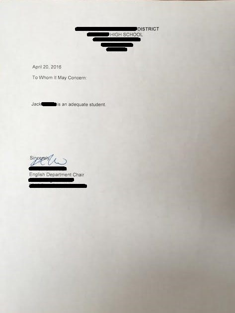 teacher school prank Teacher Pranks Student With a Less Than Adequate Letter of Recommendation