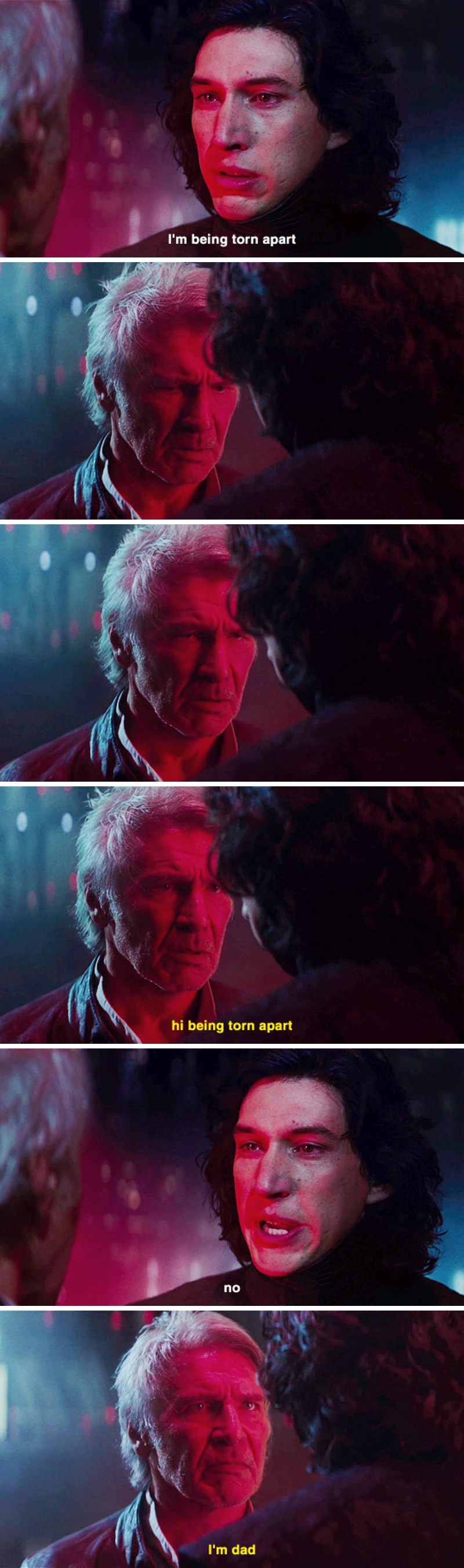 han solo dad jokes turned kylo ren to the dark side