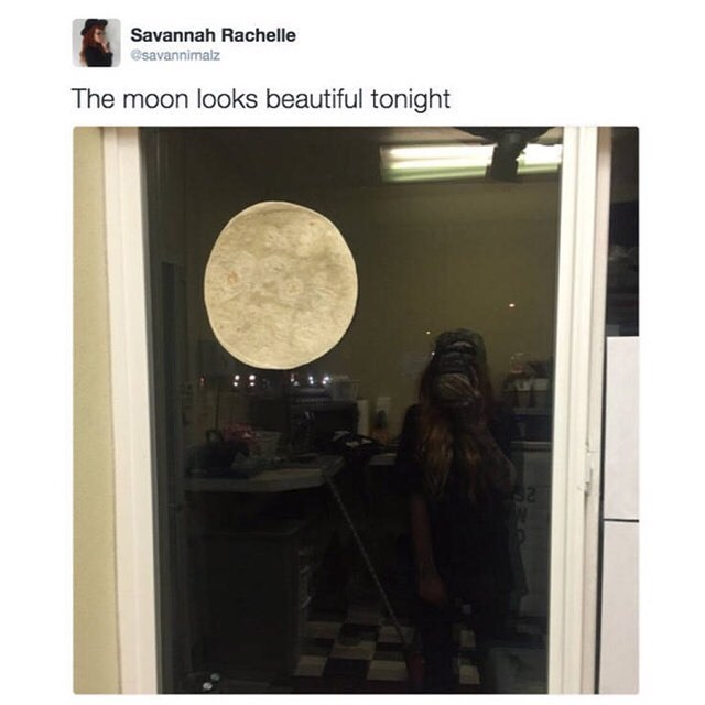 the moon looks beautiful because it's a tortilla