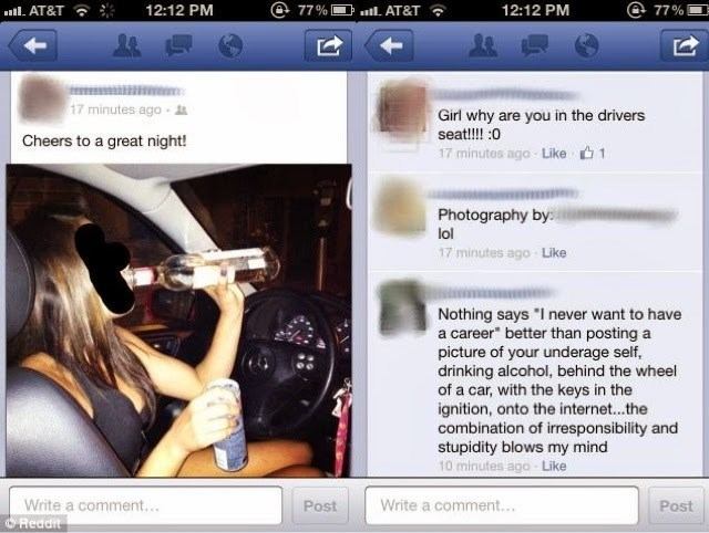 underage girl posts drinking behind the wheel to facebook