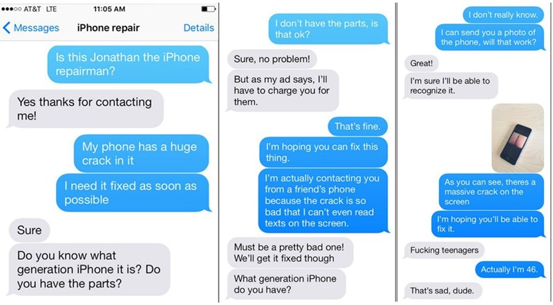 puns pranks iphone That iPhone Repair Man Wasn't Expecting the Phone to Be This Cracked