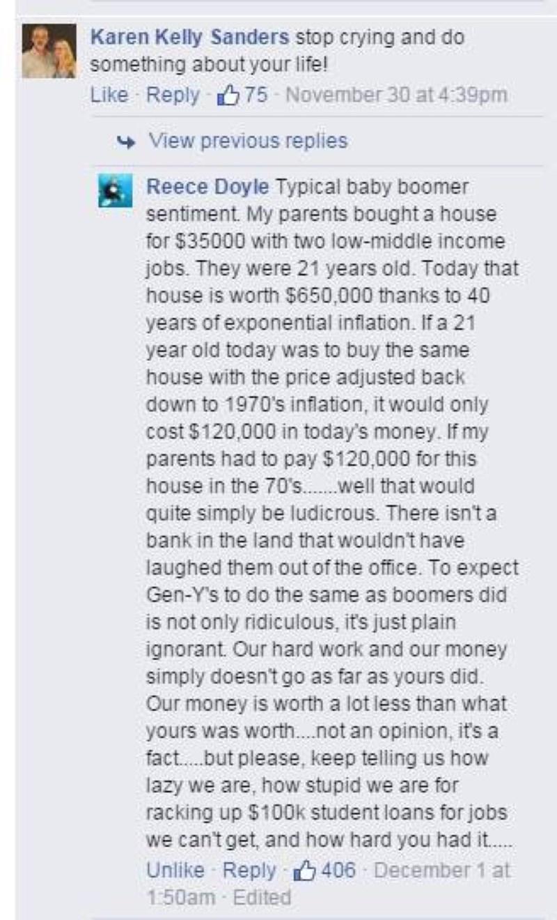 baby boomer millenial argument facebook status