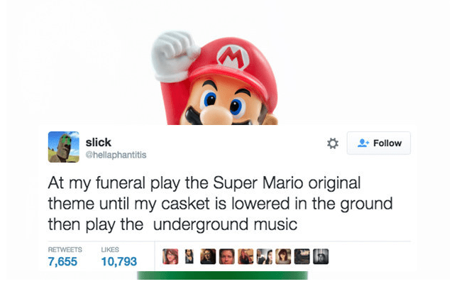 super mario funeral twitter It's in Writing, You Have to Follow Through