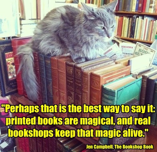 """""""Perhaps that is the best way to say it: printed books are magical, and real bookshops keep that magic alive."""""""