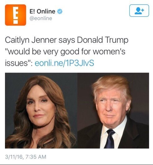 caitlyn jenner donald trump twitter womens rights