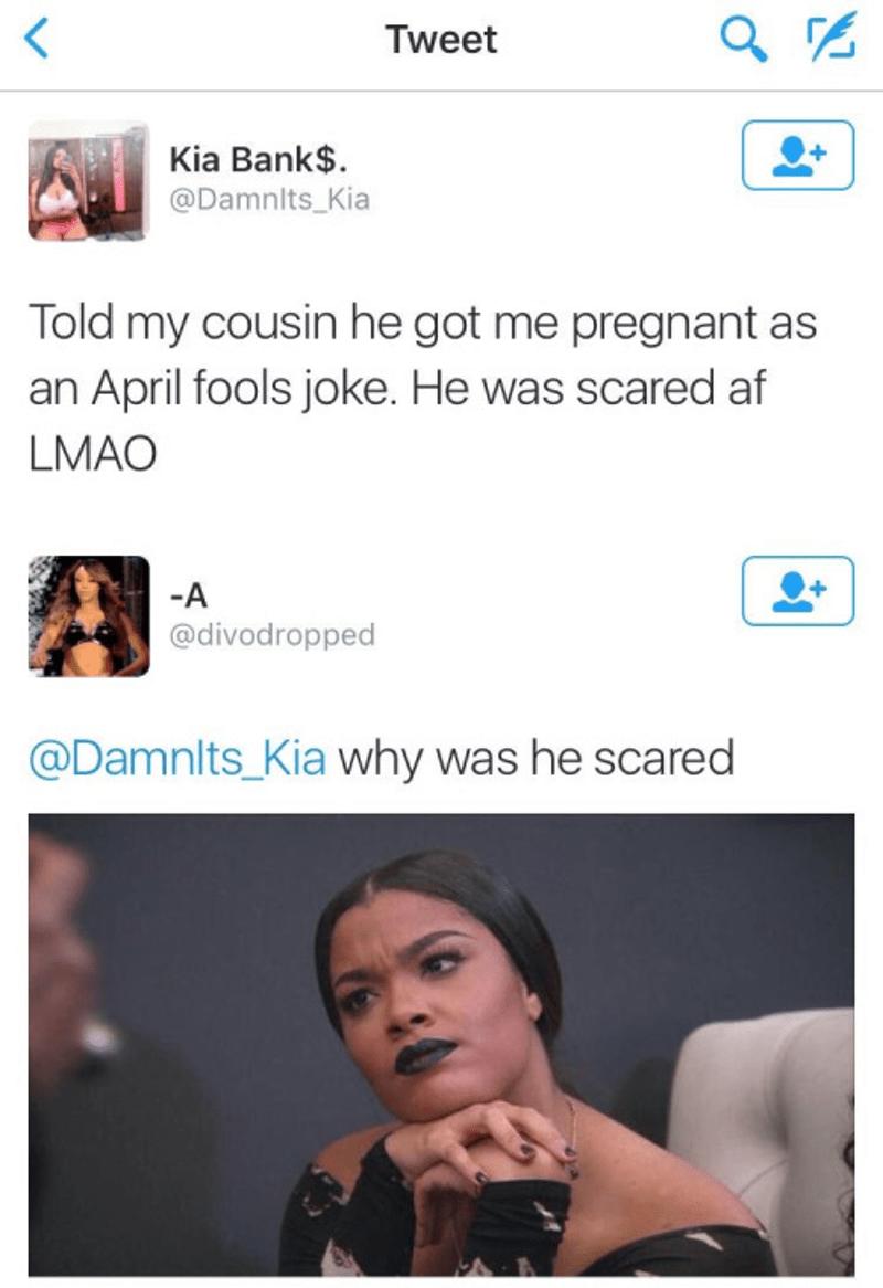 cousin pregnant on april fools joke