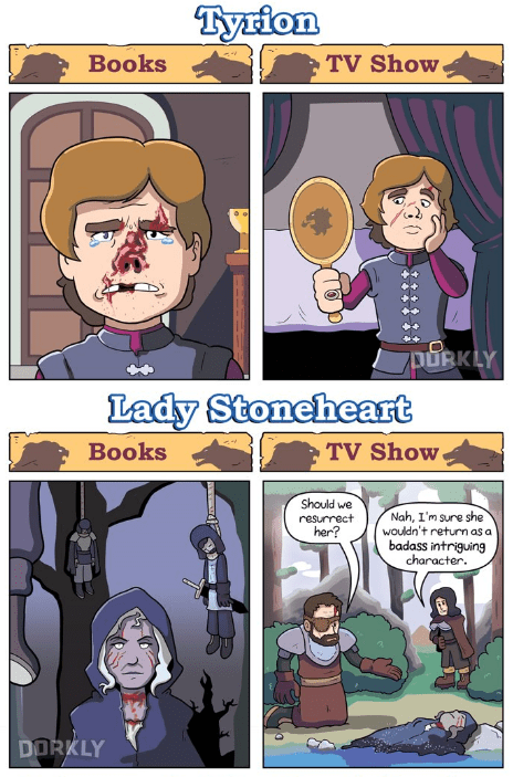 Comics - Tyrion TV Show Вooks LY Lady Stoneheart TV Show Вooks Should we Nah, I'm sure she wouldn't return as a badass intriguing character resurrect her? DORKLY