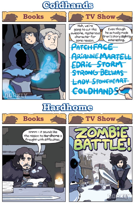 Comics - Coldhands TV Show Books Nah, we're going to cut this awesome, mysterious Even though he actually made Bran's story slightly/ interesting character for some reason. |PATCHFACE ARIANNEMARTELL EDRIG STORM STRONG BELWAS LADY STONEHEART |COLDHANDSS DORKLY Hardhome TV Show Books ZOMBIE BATTLE! Hmmm it sounds like the mission to Hardhome is fraught with difficulties. DORKLY