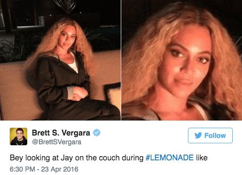 Hair - Brett S. Vergara @BrettSVergara Follow Bey looking at Jay on the couch during #LEMONADE like 6:30 PM -23 Apr 2016