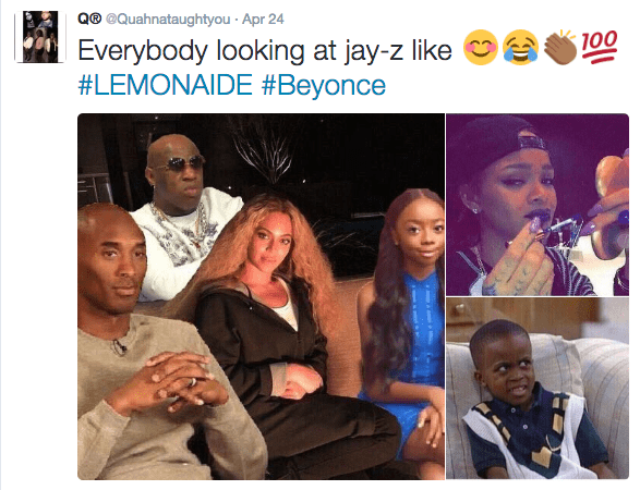 People - Q® @Quahnataughtyou Apr 24 100 Everybody looking at jay-z #LEMONAIDE #Beyonce