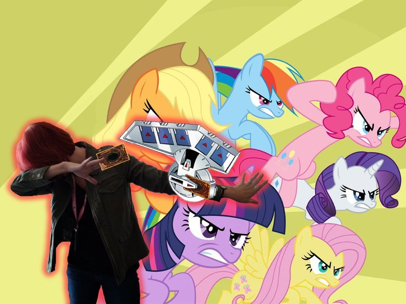 applejack,fluttershy,pinkie pie,Yu Gi Oh,twilight sparkle,rarity,rainbow dash,lauren faust