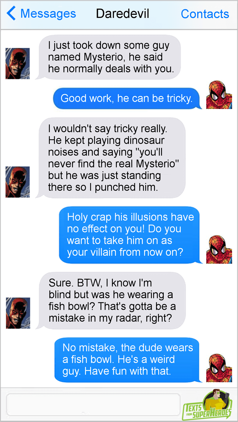 daredevil-spiderman-text-conversation-mysterio-fish-bowl-joke