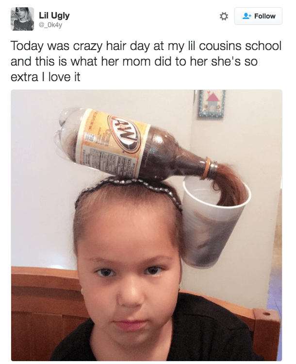 root beer crazy hair day is greatest thing