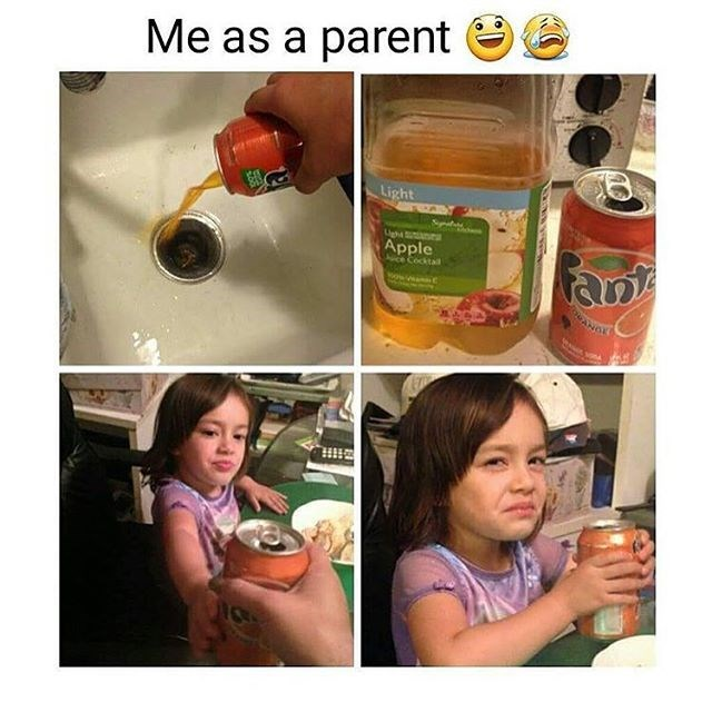 parenting mom fools kid to drink apple juice instead of soda