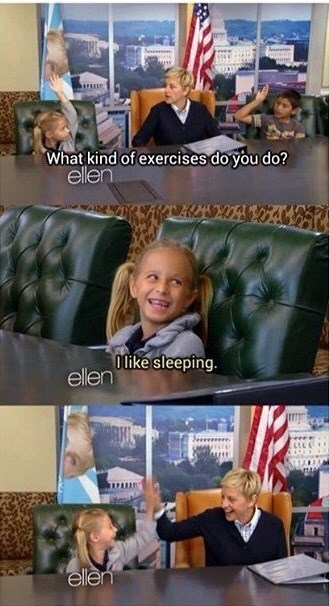 ellen high fives kid for being a legend who likes to sleep