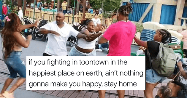 Tweets about Viral video of Disneyland Fight in Toon Town.
