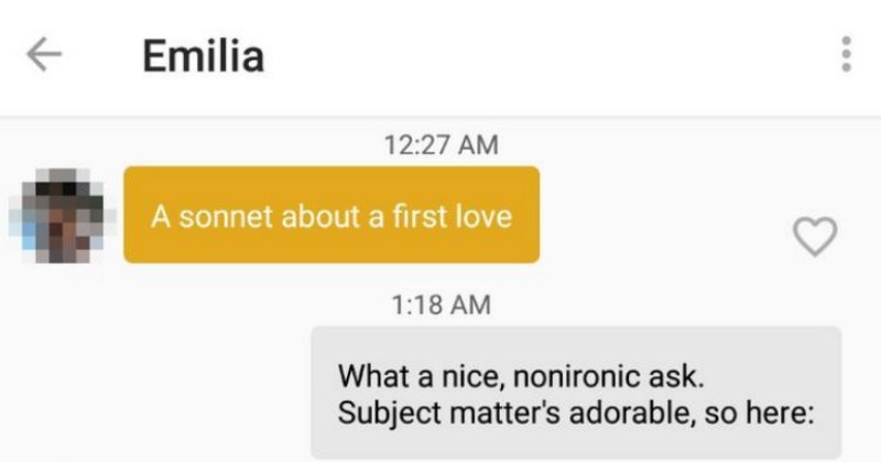 A guy writes a sonnet for a girl on Tinder, and asks her for nudes using the first letter of each line of the sonnet.