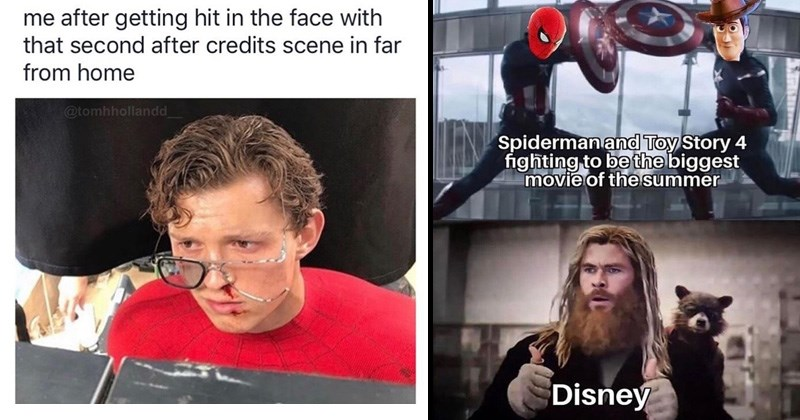 Funny memes from Spider-man far from home, toy story, disney, tom holland.
